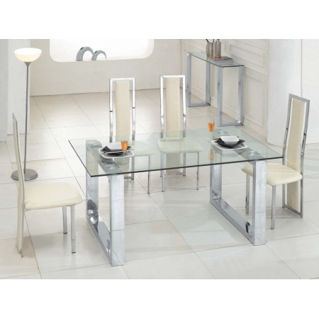 Glass dining table molten transparent 6 d231 chairs set - Table a manger transparente ...