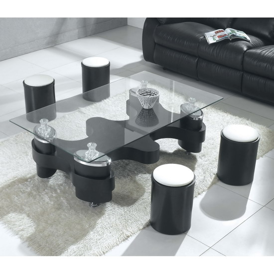 Beijing Black Glass Coffee Table And Stools
