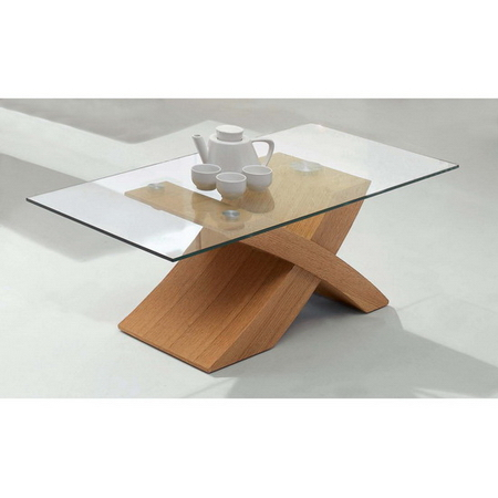 New X Wood Oak Coffee Table