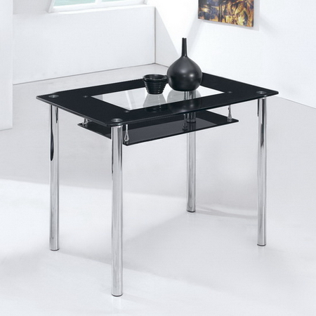 Small Compact Black Glass Dining Table