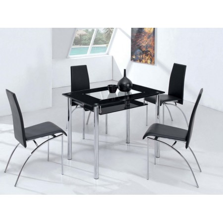 Small compact glass dining table with 4 d211 chairs black for Small black dining table and chairs