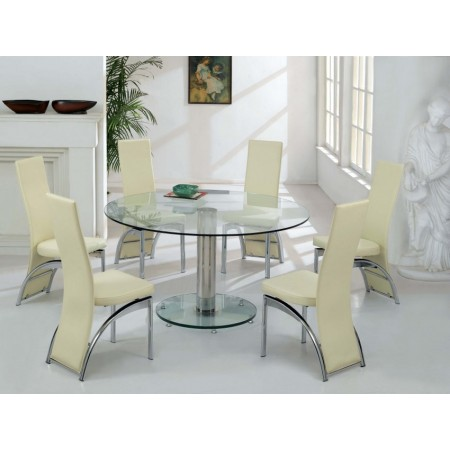 Round Glass Dining Table Large Ice Transparent 6 X D212 Chairs