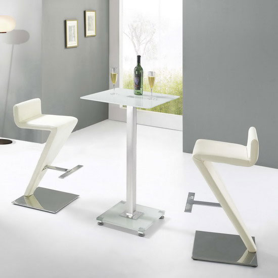 Glass Bar Stools: Glass Bar Table Ice With 2 BR-216 Stools