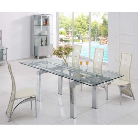 Extending Glass Dining Table Maxi Transparent 6 X D215