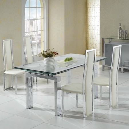 Extending Glass Dining Table Maxi Transparent 6 X D231 Chairs Set