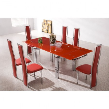 Extending glass dining table maxi red 6 x d231 chairs set for Table a manger plus 6 chaise