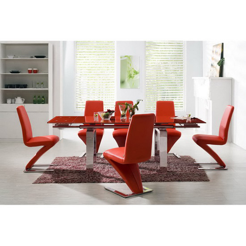 Glass Extending Dining Set Maxi RED With 6 Z Chairs FU NICHA Genuine Brand