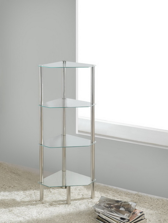 4 Tier Triangle Glass Stand Coffee Table Bathroom Clear