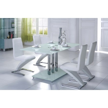 Trilogy glass dining table white 6 d216 chairs for White dining table and 6 chairs