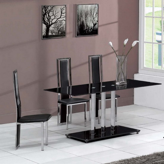 Black Glass Dining Table Trilogy And 4 Chairs Tuxedo