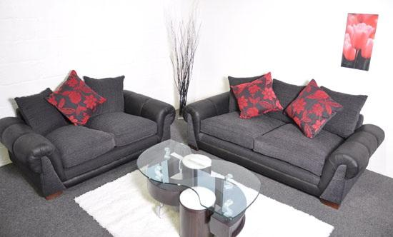 Paprika Black And Red Fabric 3 2 Sofa Set Suite