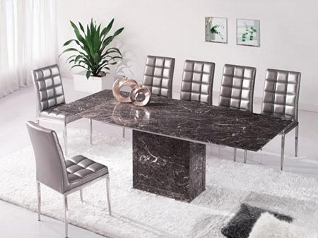Zeus Brown Grey Marble Extending Dining Table 8 Chairs
