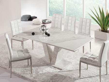 Hera white grey marble v leg dining table and 6 chairs - White marble dining tables ...