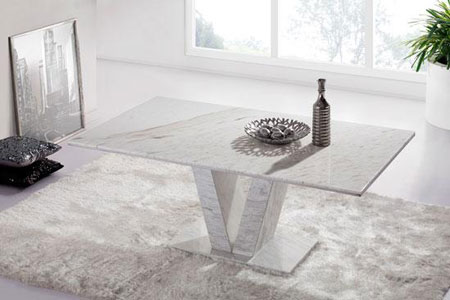Hera White Grey Marble V Leg Dining Table