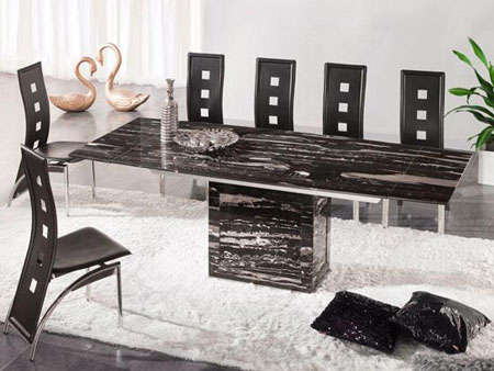 Zeus Black Nero Marble Extending Dining Table 6 D 215 Chairs
