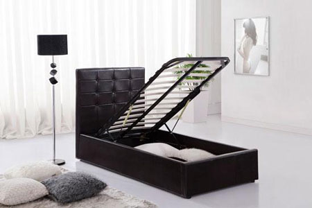 Black Ottoman Faux Leather Single Bed With Storage