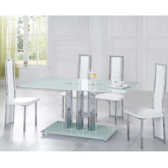 White Glass dining table Trilogy and 4 chairs Tuxedo