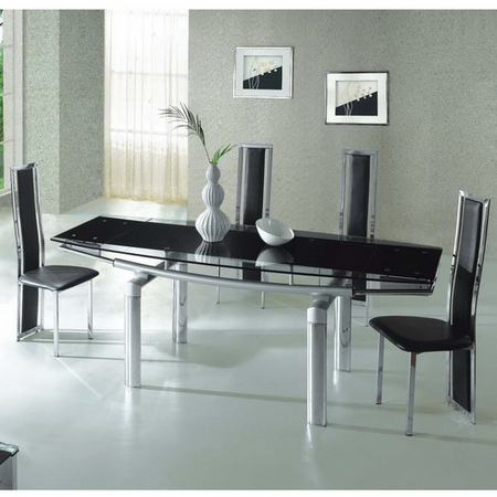 Mega Extending Glass Dining Table Black 6 X D231 Chairs Set