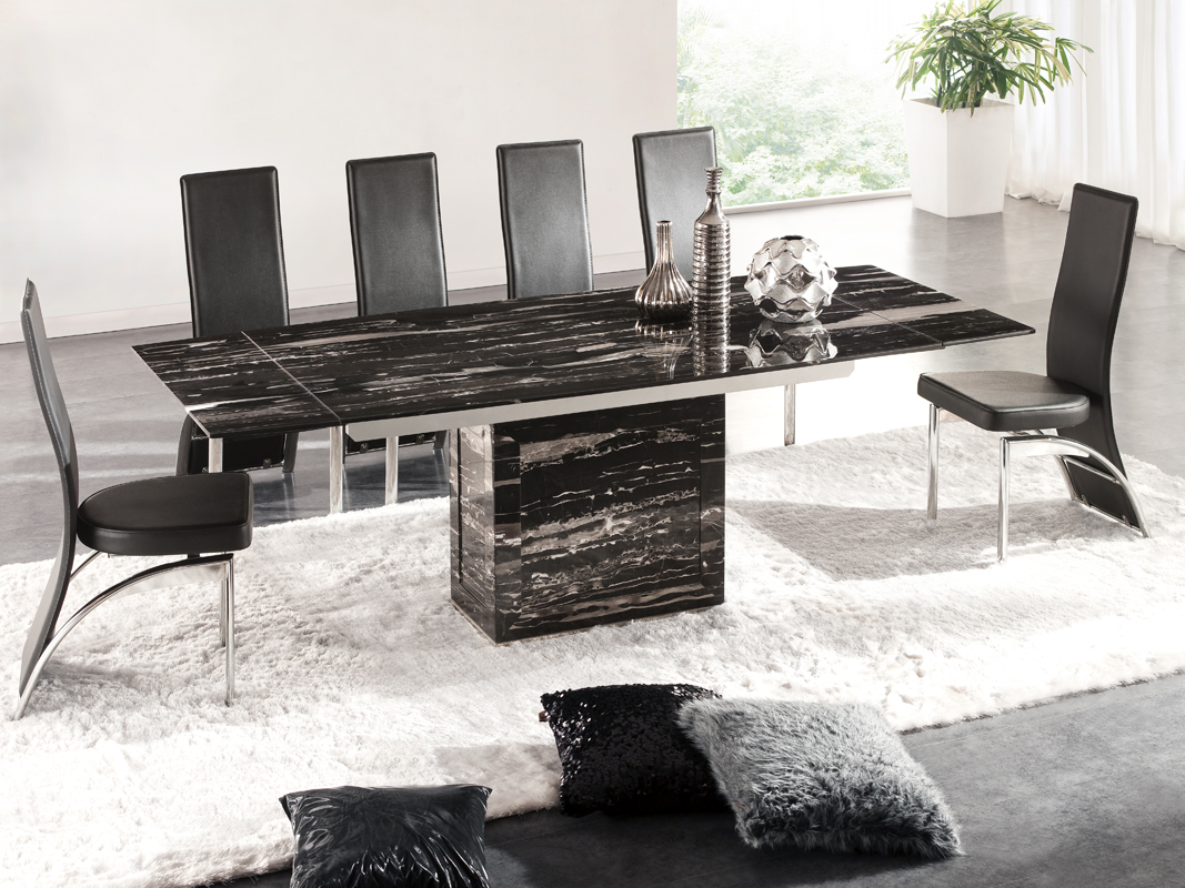 Zeus Black Nero Marble Extending Dining Table 6 D212 Chairs