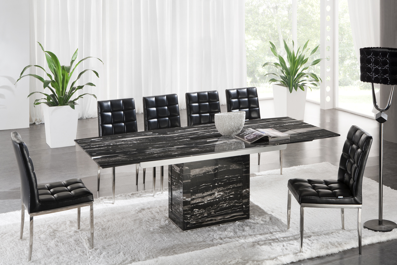 Zeus Black Nero Marble Extending Dining Table 6 D 214 Chairs : D214black from www.glasstablesandchairs.com size 1284 x 856 jpeg 746kB