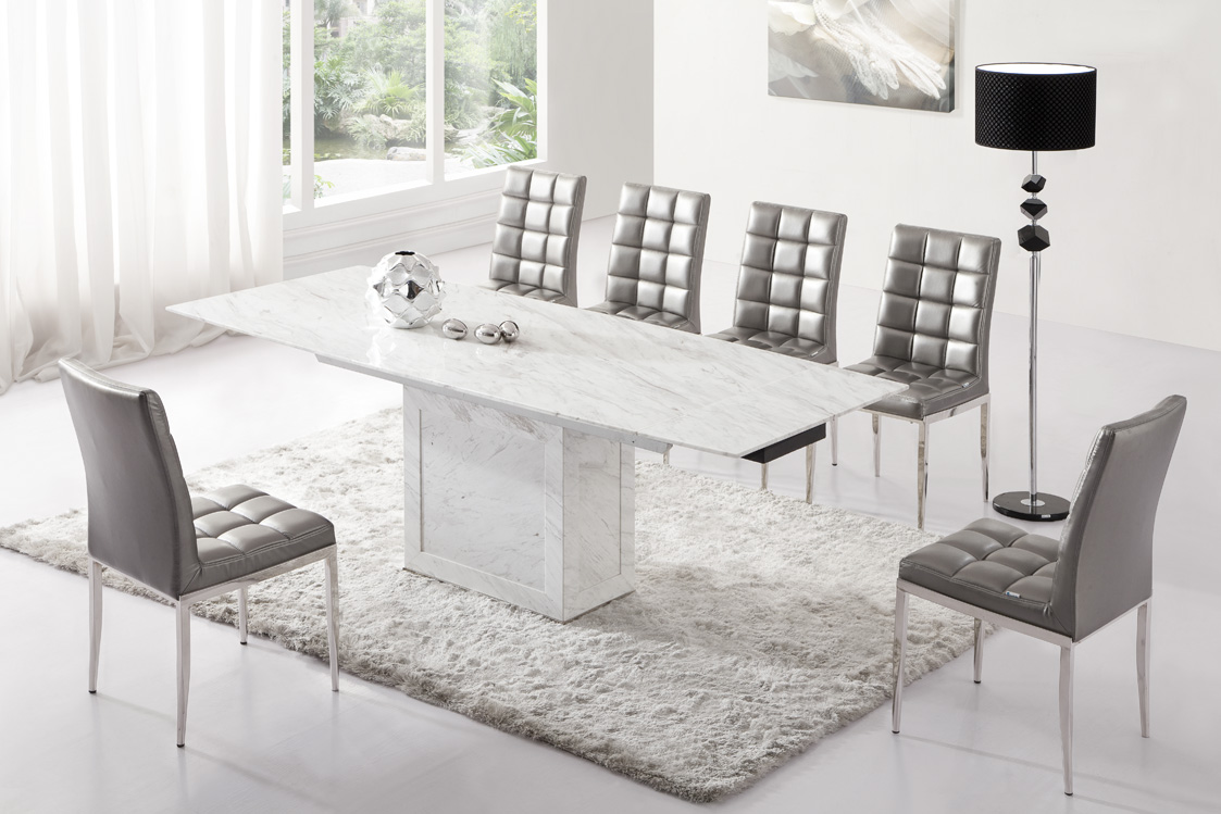 Zeus white grey marble v leg dining table and 6 chairs for Table a manger plus 6 chaise