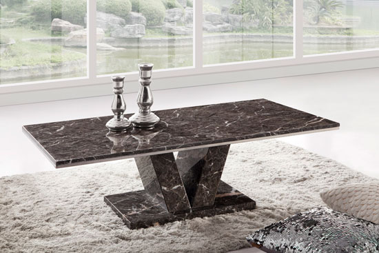 Hera Brown Grey Marble V Leg Coffee Table