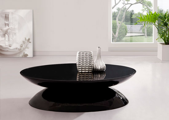 Egg Black Glass Topped Contemporary Coffee Table