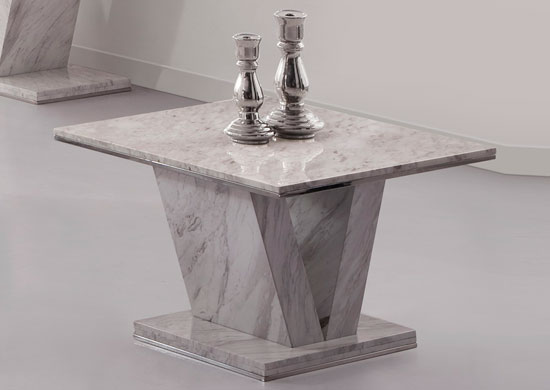 Hera White Grey Marble V Leg Side End Or Lamp Table