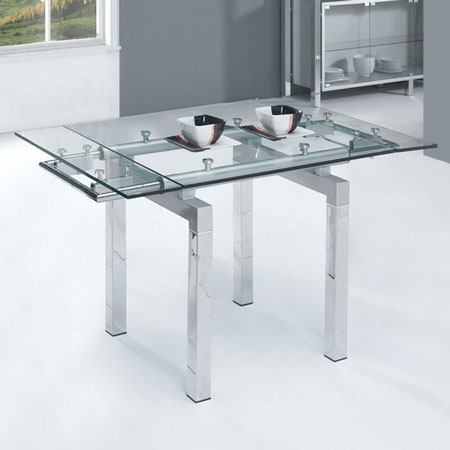Glass Extending Dining Table Mini Clear