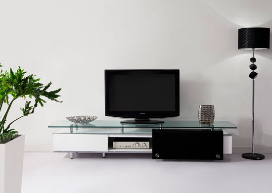 Tv Stand Designs For Living Room : Oxygen  ultra chic contemporary glass tv stand white