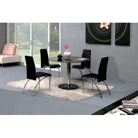 Round Glass Dining Table Small Ice 4 X D211 Chairs