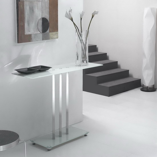 Glass Console Table Trilogy White Fu Nicha Genuine Brand
