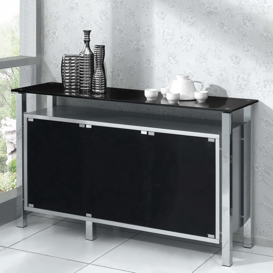 Wood sideboard venus 3 door silver with black glass for Sideboard glas