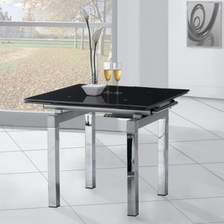 Extending Glass Dining Table Mini Black - Small glass extending dining table