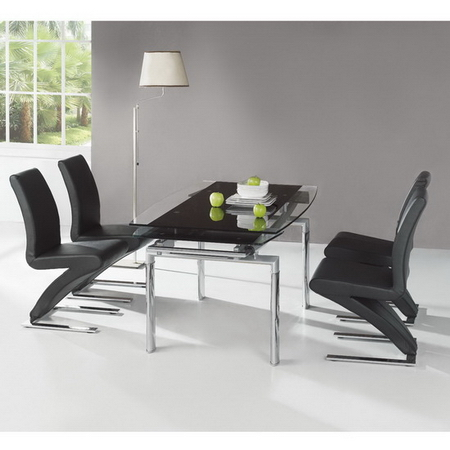 Extending Glass Dining Table BLACK 6 X D216 Chairs Set