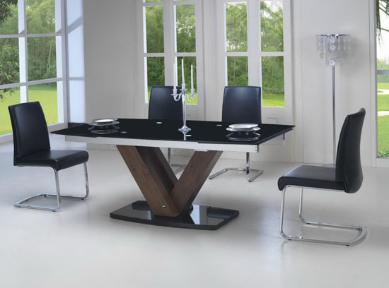 Black Glass Walnut Extending Dining Table 2.9m + 8 Chairs