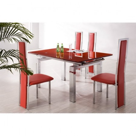 Extending Glass Dining Table Maxi Red 6 X D231 Chairs Set