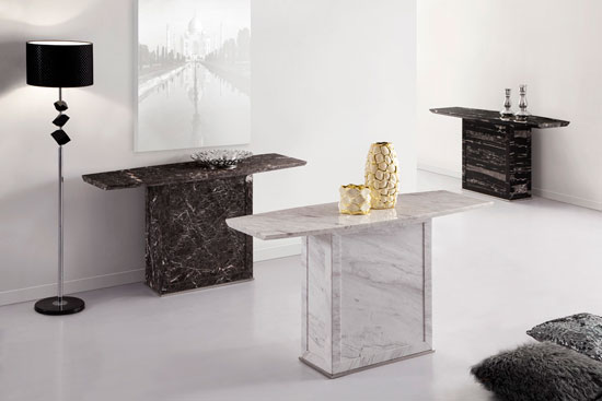 Zeus White Grey Marble Console Table