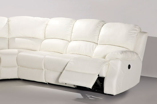 ESPRIT LEATHER CORNER SOFA with RECLINER AND SOFABED - WHITE Black Office Chair Back View