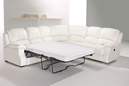 Esprit Leather Corner Sofa With Recliner And Sofabed White