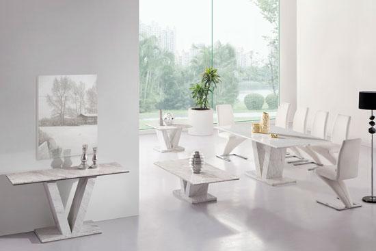 Hera White Grey Marble V Leg Console Hall Sofa Table