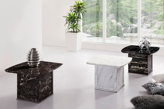 Zeus Brown Grey marble end side or lamp table