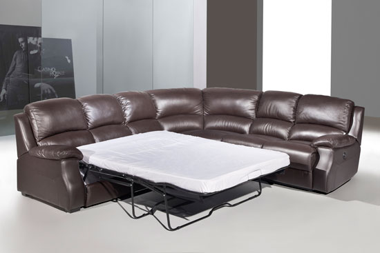 esprit leather corner sofa with recliner and sofabed brown. Black Bedroom Furniture Sets. Home Design Ideas