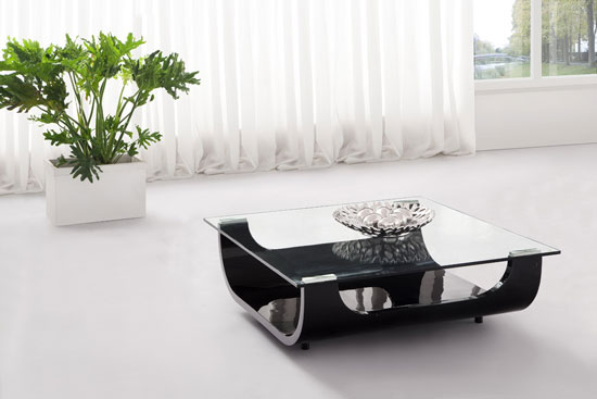 Iceberg Contemporary Square Shaped Glass Coffee Table Black