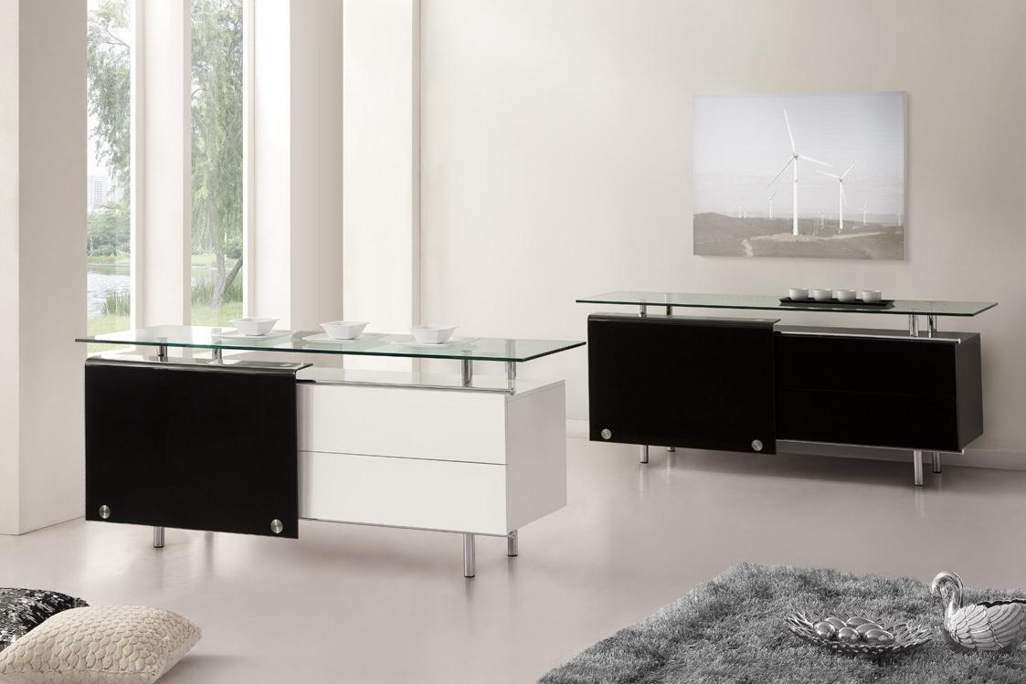 39 oxygen 39 39 ultra chic contemporary glass sideboard white for Sideboard glas