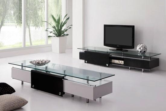Oxygen Ultra Chic Contemporary Glass Tv Stand Black