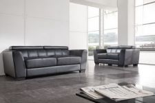 Ferrara Genuine Leather Sofa Suite 3+2 Black