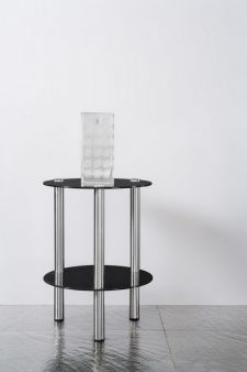 2 Tier round Glass Stand Coffee Table Bathroom Black