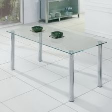 Trevero - Transparent Glass Dining Table + 6 x D212 Chairs