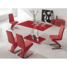 Glass Dining Table Ice Red with 4 D216 Chairs set